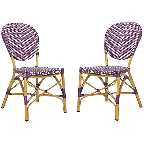 S/2 Ariel Stacking Side Chairs, Purple/White