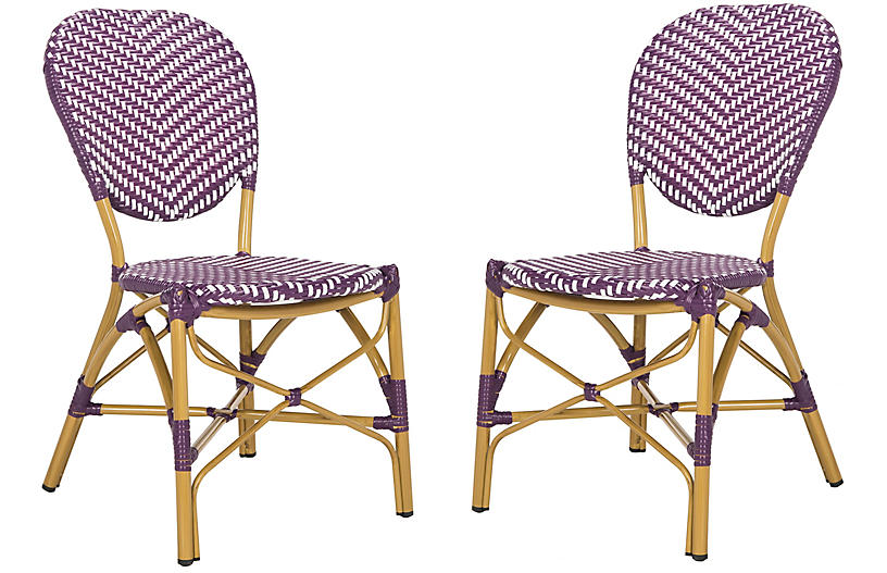 Set of 2 Ariel Stacking Side Chairs - Purple/White