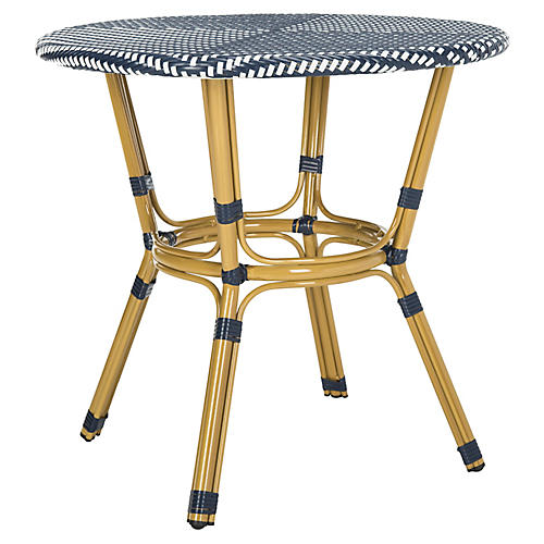Litzy Bistro Table, Navy/White