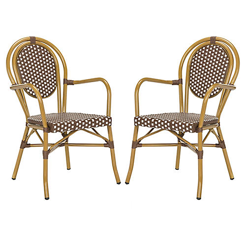 S/2 Sierra Stacking Armchairs, Mocha/White