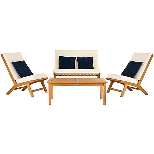 Chaston Lounge Set, Navy/White