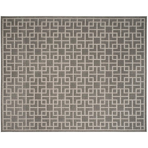 Dextera Outdoor Rug, Gray/Cream