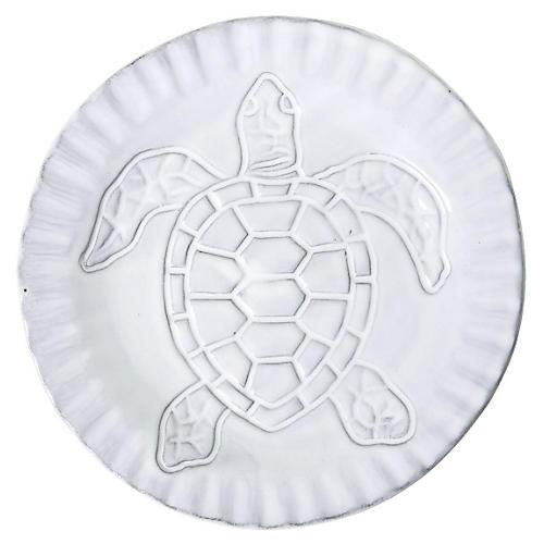 Incanto Mare Turtle Canapé Plate, White