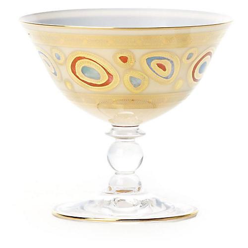 Regalia Cream Dessert Bowl, Gold