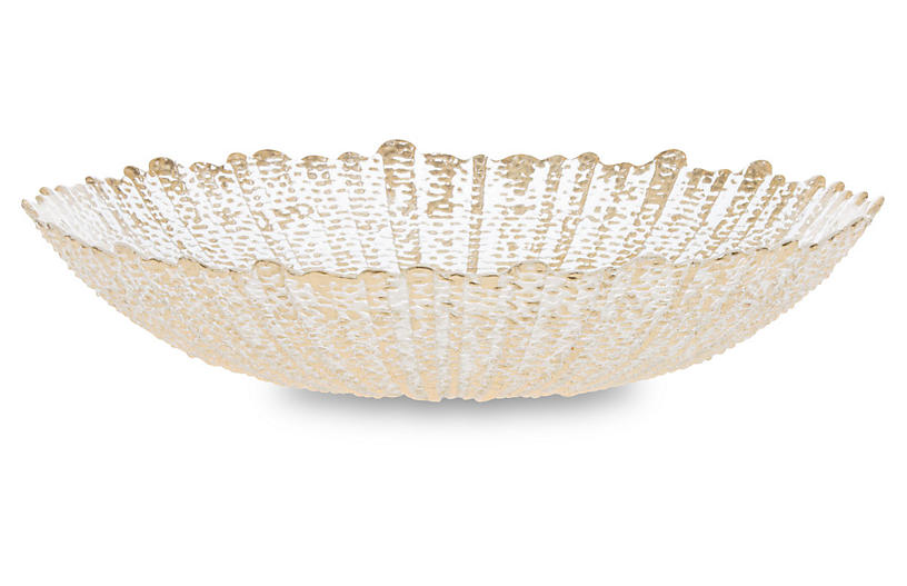 Rufolo Glass Serving Bowl, Gold