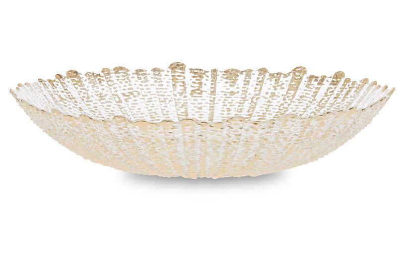 Rufolo Glass Serving Bowl, Gold