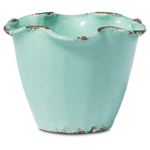 "6"" Rustic Garden Small Scalloped Planter, Aqua"