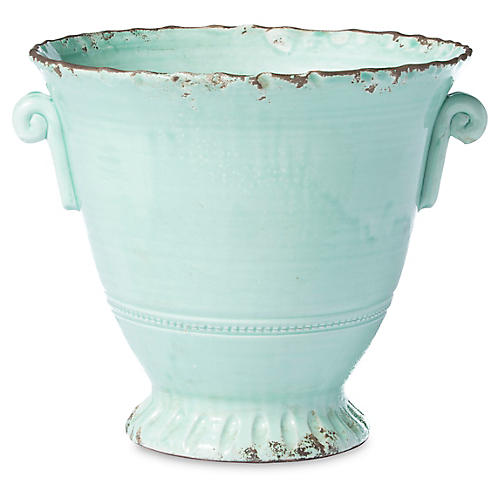 "13"" Rustic Medium Flair Planter, Aqua"