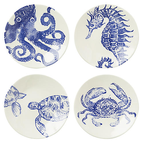 Asst. of 4 Costiera Salad Plates, Blue