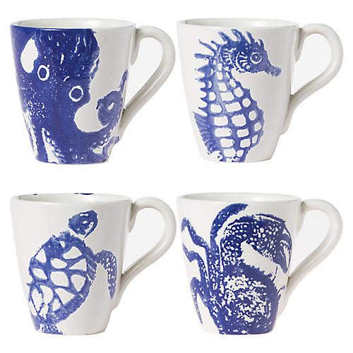 Asst. of 4 Costiera Mugs, Blue