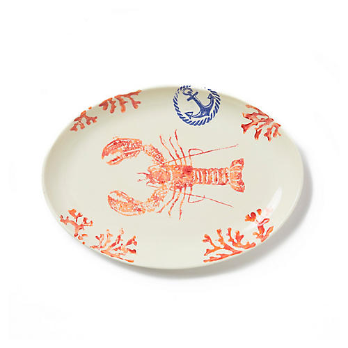 Costiera Oval Lobster Platter, Coral