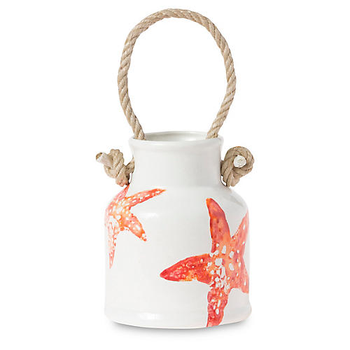 Costiera Starfish Utensil Holder, Coral