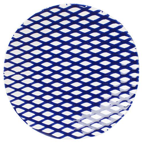 Net & Stripe Net Salad Plate, Blue