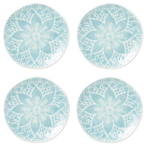 S/4 Lace Dessert Plates, Aqua