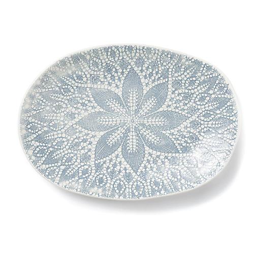 Lace Oval Platter, Light Gray