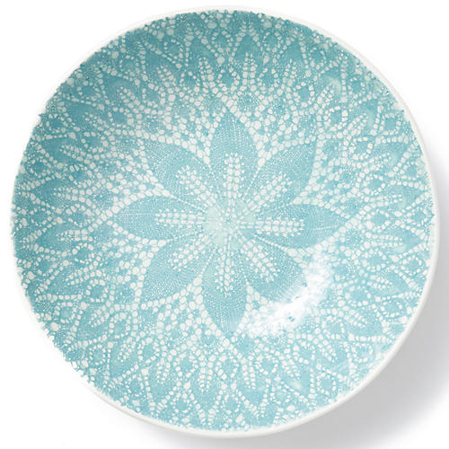 Lace Medium Serving Bowl, Aqua