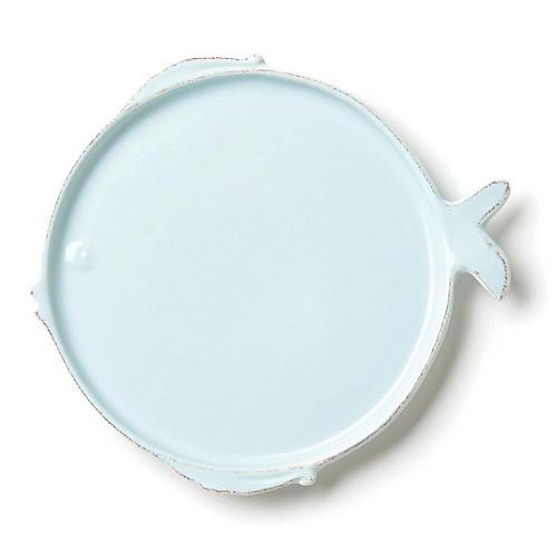 Lastra Fish Salad Plate, Aqua