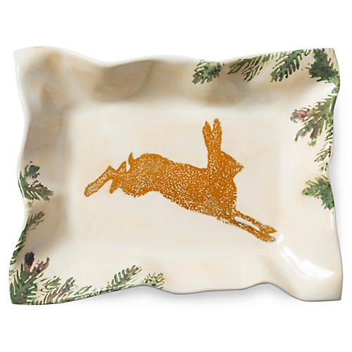 Foresta Hare Rectangular Tray, Ivory/Multi