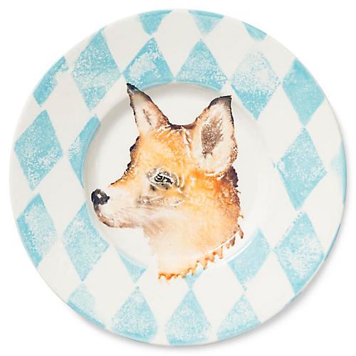 Into the Woods Fox Rimmed Platter, Light Blue