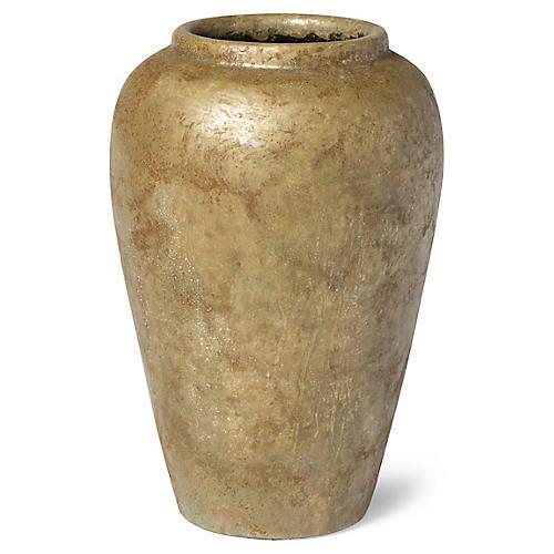 Mixed Metals Vase, Weathered Gold