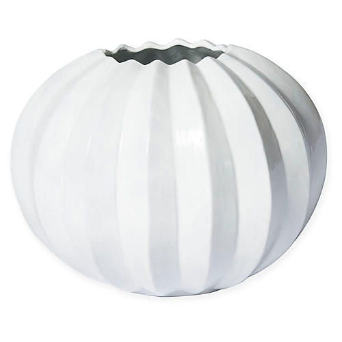 "8"" Incanto Pleated Round Vase, White"