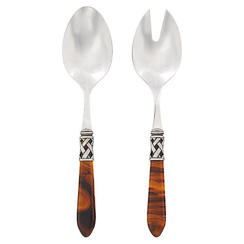 Asst. of 2 Aladdin Salad Servers, Taupe/Silver
