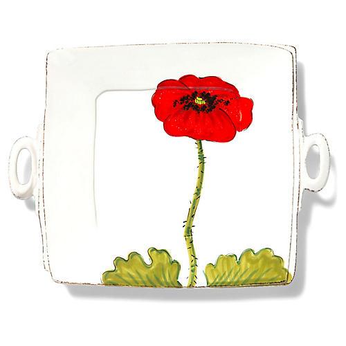 Lastra Square Handle Platter, White/Multi