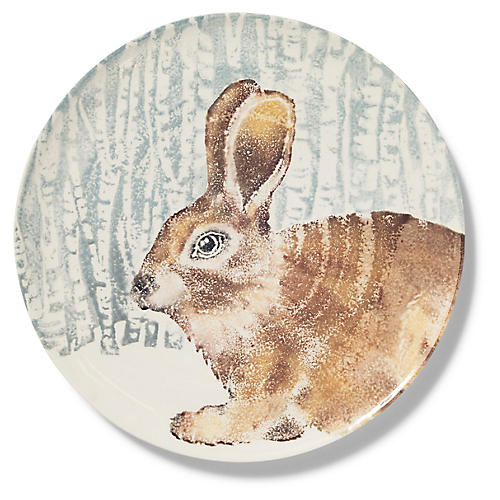 Into the Woods Hare Round Platter, Brown/Multi