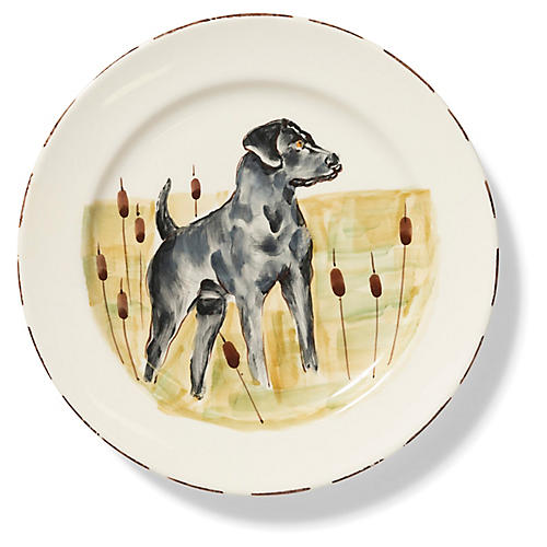 Wildlife Black Hunting Dog Dinner Plate, White