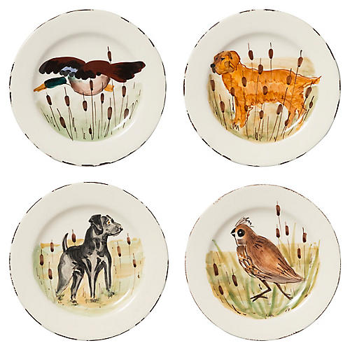 Asst. of 4 Wildlife Salad Plates, White/Multi