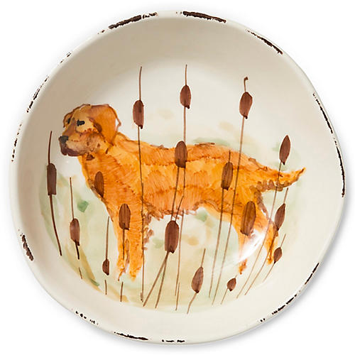 Wildlife Hunting Dog Pasta Bowl, White/Multi