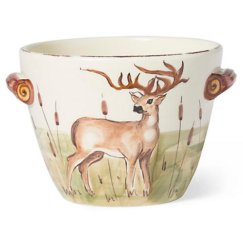 Wildlife Deer Handled Deep Serving Bowl, White