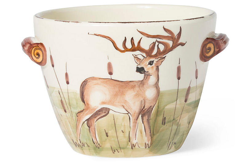 Wildlife Deer Handled Deep Serving Bowl - White - VIETRI