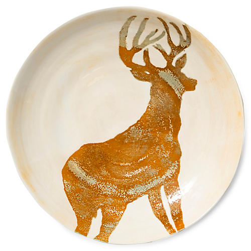 Foresta Deer Large Bowl, Ivory/Tan