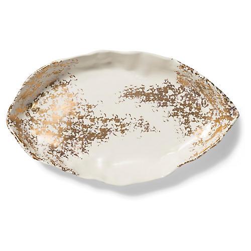 Scattered Matte Oval Platter, White/Gold