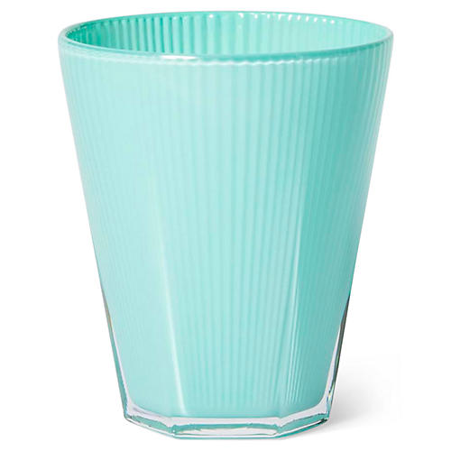 S/4 Accordion Tumblers, Aqua