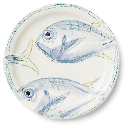 Pescatore Salad Plate, White/Aqua