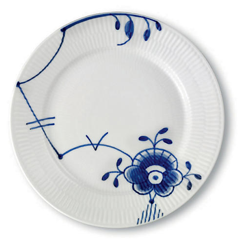 Mega Salad Plate, White/Blue