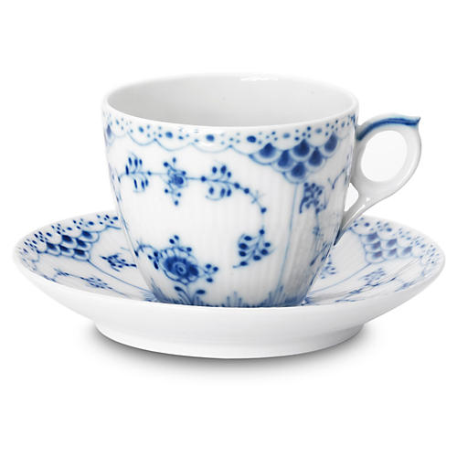 Blue Half Lace Coffee Cup & Saucer