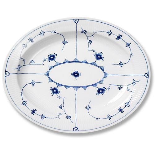 Blue Plain Oval Platter, Large