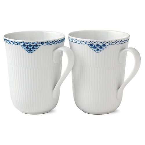 S/2 Princess Mugs, Blue/White