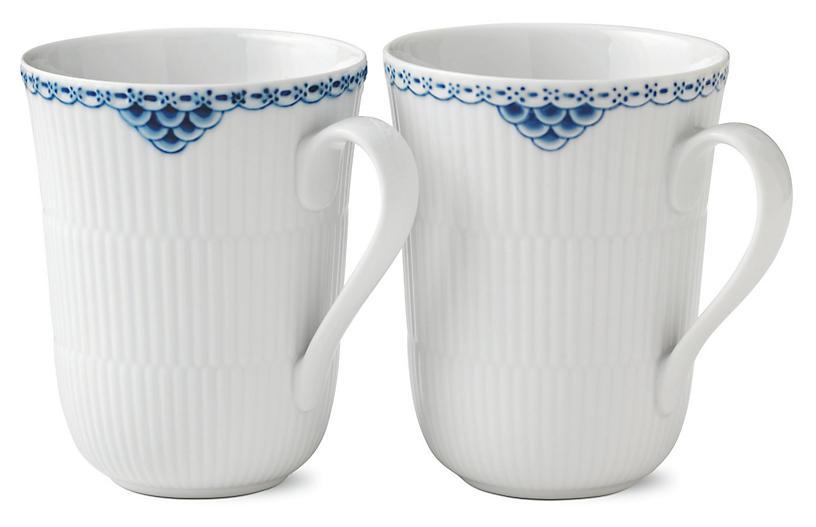 S/2 Princess Mugs, Blue/White
