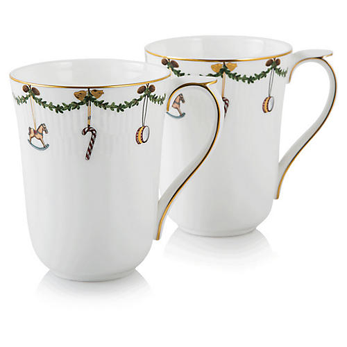 S/2 Star Fluted Mugs, 11 Oz