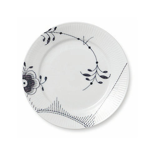 "8.75"" Black Fluted Mega Salad Plate"