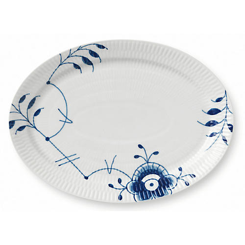 Fluted Mega Oval Serving Plate, Blue/White