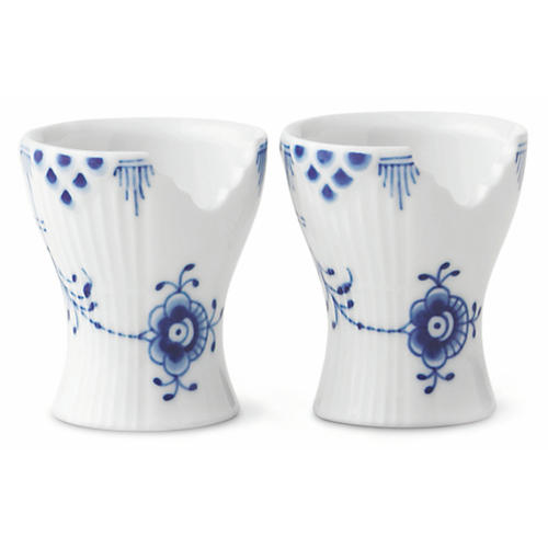 S/2 Elements Egg Cups, Blue/White