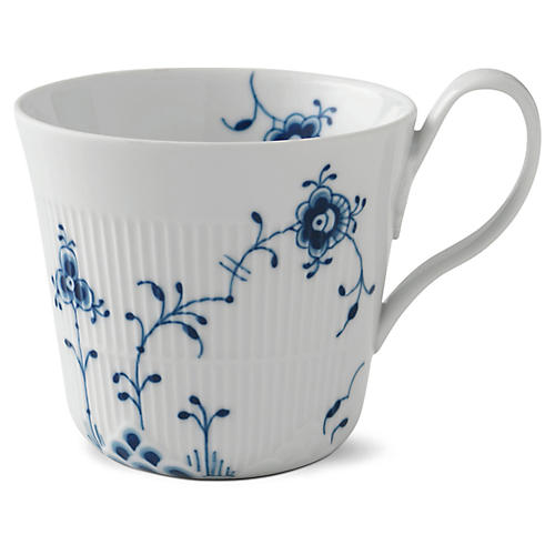 Elements High-Handle Coffee Mug, Blue/White