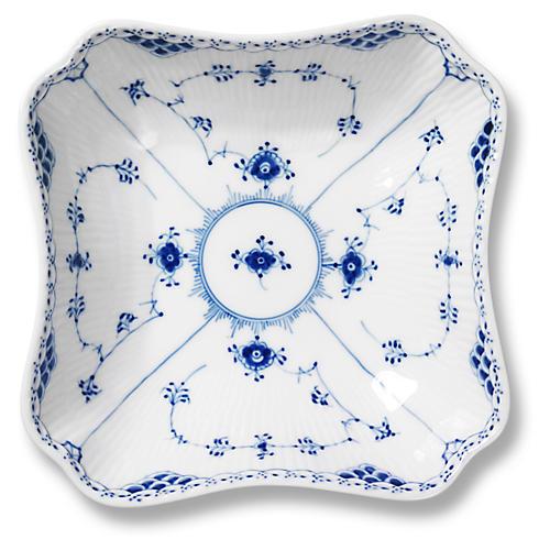 Half Lace Square Bowl, Blue/White