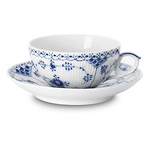 Half-Lace Fluted Teacup & Saucer Set, Blue/White
