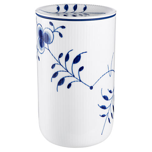 Fluted Mega Large Storage Jar, Blue/White
